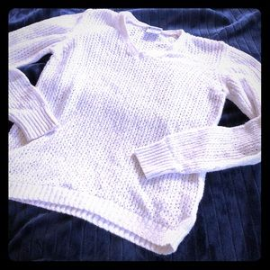 Columbia white Open Weave V neck Sweater S